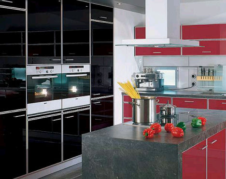 Pro High Gloss Black Red Kitchen Red is not just used in modern kitchens