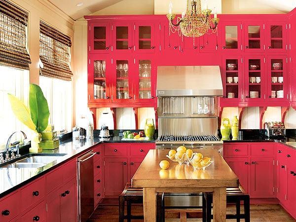 traditional kitchen in red