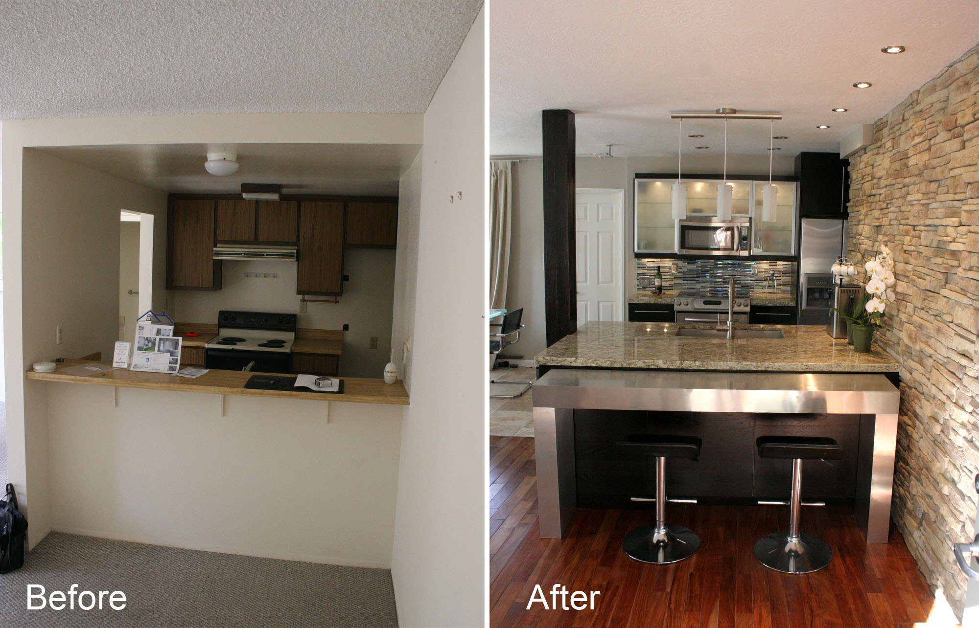 Kitchen planning and design kitchen remodeling in a for Before after kitchen makeovers