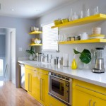 modern gray and yellow kitchen