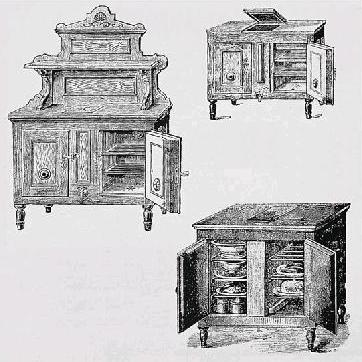 Three iceboxes dating from 1800
